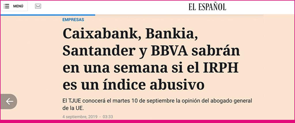 EL ESPAÑOL. IRPH. ABOGADO GENERAL TJUE. ASUFIN. 10.09.2019