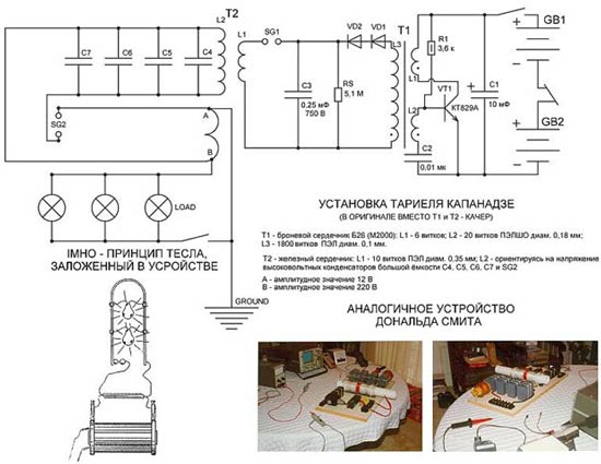 Капанадзе генераторының электрлік диаграммасы