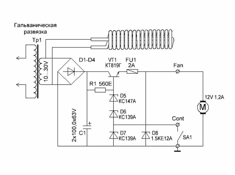 Penyejuk radiator, kipas yang disambungkan melalui jambatan diodnya.