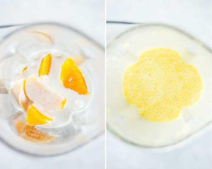 All the ingredients used in the orange creamsicle recipe, placed in a blender and then processed to a creamy mixture