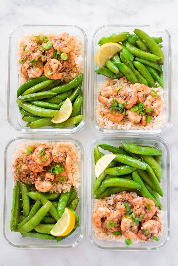 Honey garlic shrimp meal prep