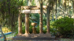 concrete Roman pillars and vase make a grave monument at Bonaventure Cemetery