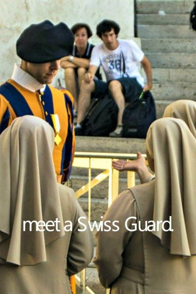 Swiss Guardsman speaking with nuns