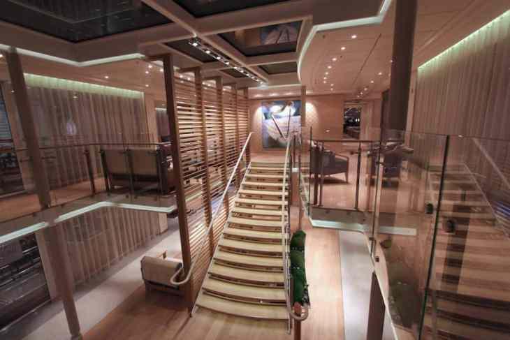 This is the atrium on the Viking Bragi cruise ship. Credit: Ralph Grizzle, avidcruiser.com