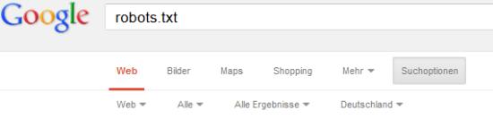 Menü Google Suchoptionen