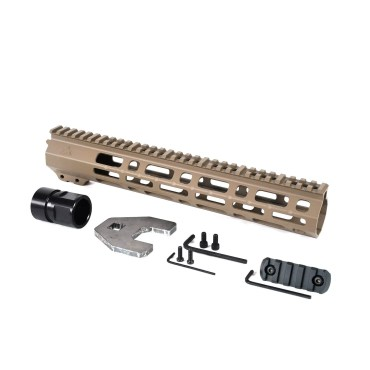AT3 Tactical Spear M-LOK Free Float Handguard Flat Dark Earth 12 Inch with Barrel Nut, 5 Slot Rail, and Hardware
