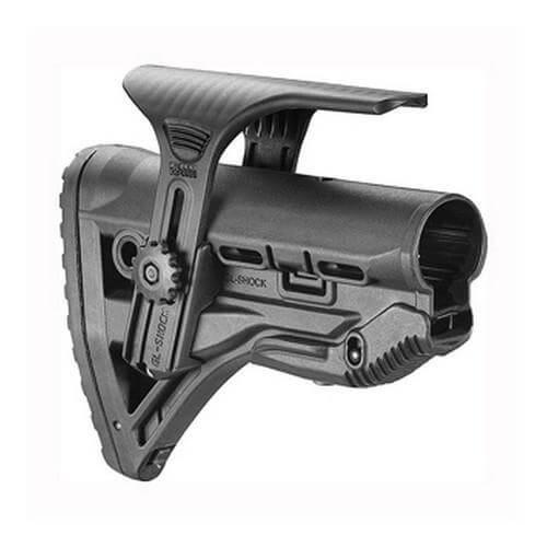 Mako AR15 Stock w/Shock Absorber Black, w/Cheek Rest - GL-SHOCKCP-B