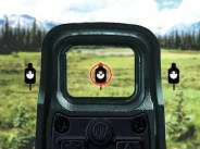 EOTech holographic red dot sights reticle on target
