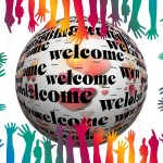 """[Language Access Services - """"welcome"""" and many hands]"""