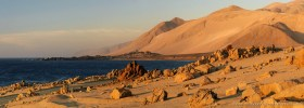 Panorama of the arid Atacama desert coast with Cordillera de la Costa near Antofagasta