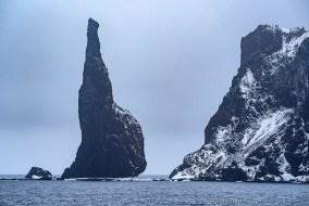 The Monolith is a single impressive rock at Sabrina Islet, part of the Balleny Islands, Antarctica
