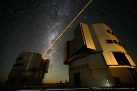 The Laser Guide Star of Paranal observatory in operation with the Milky Way in the background