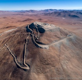 Construction site of the Extremely Large Telescope on Cerro Armazones in the Chilean Atacama Desert