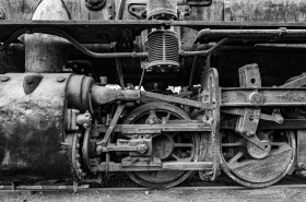 Historic railway steam engine from the nitrate mining era, Baquedano Chile