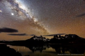 The Milky Way above Lago Pehue in Torres del Paine
