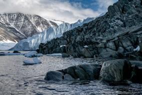 Murray glacier and rock cliffs at Robertson Bay, Antarctica