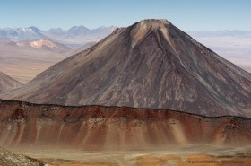 Volcano Licancabur and volcanic caldera of Sairecabur