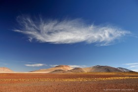 A single cloud above the high desert planes or Altiplano of Chile