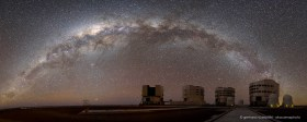 Panorama of the Milky Way arching above Paranal Observatory