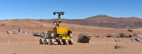 ESA Mars rover Bridget at the test site in the Atacama Desert near Paranal Observatory