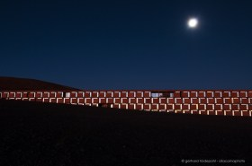 Paranal observatory Residencia at dusk with moon