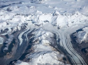 Aerial photo of glacier Pared, Northern Patagonian Ice field, Chile