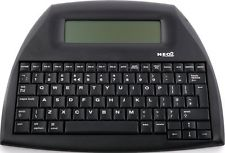alphasmart neo2 word processor. looks like a black keyboard with a small grey screen