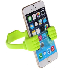 green plastic mount supporting mobile phone at a 70 degree angle