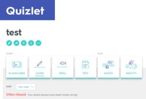 Quizlet webpage resources