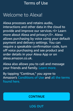 screenshot of Alexa terms of use