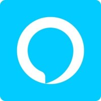 Alexa logo - speech bubble - blue on while circle on blue background - square