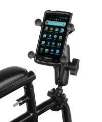 Ram mount with mobile phone on wheelchair