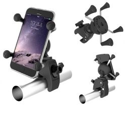 TOUGH-CLAW MOUNT WITH UNIVERSAL X-GRIP PHONE HOLDER on a tube