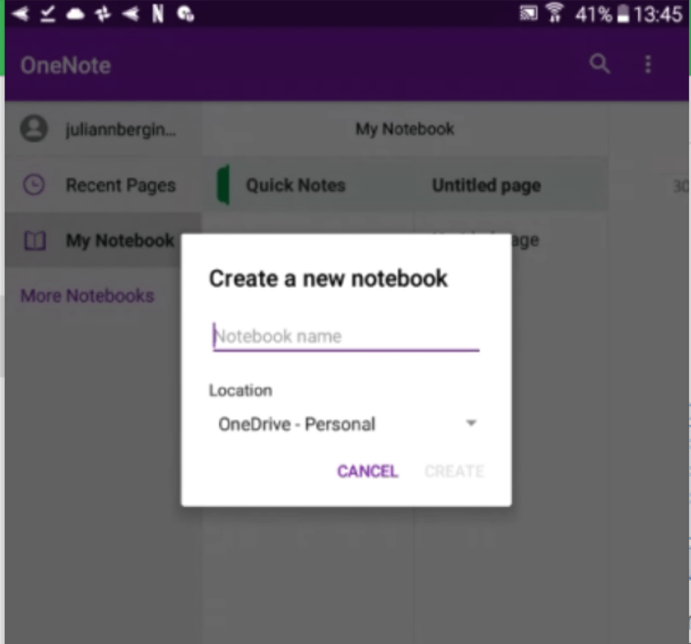 OneNote screenshot on android adding a page