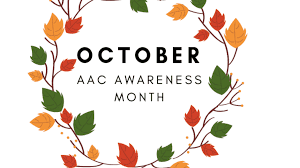 Text October- AAC Awareness month surrounded by autumn leaves