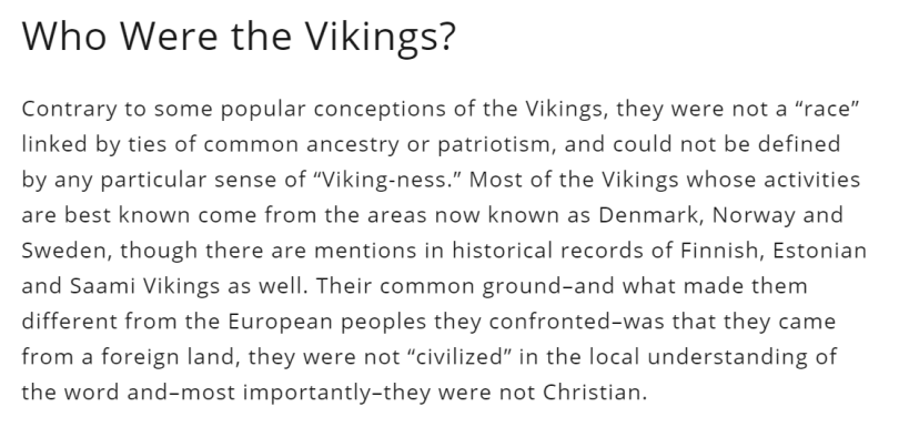 A paragraph of text with a heading of who were the vikings