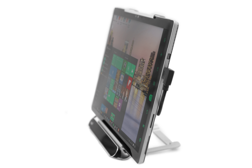 An Eye gaze tracker on a mount with a Microsoft surface pro tablet