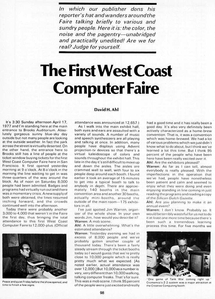 The First West Coast Computer Faire