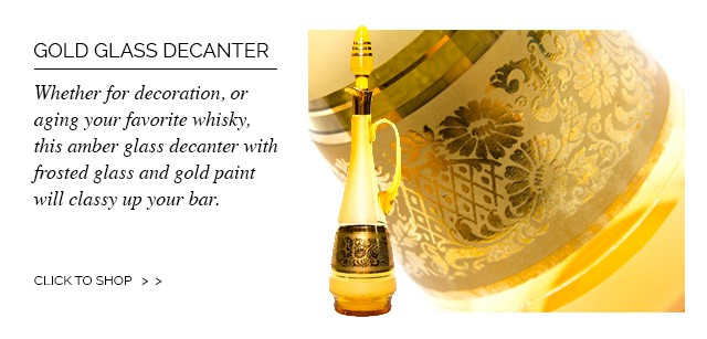 Amber and Gold Glass Decanter