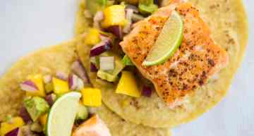 Grilled Salmon Tacos with Mango Avocado Salsa
