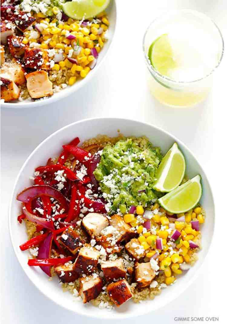 Chicken Quinoa Burrito Bowls