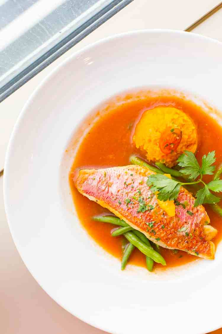 Grilled Red Snapper with Gazpacho Juic