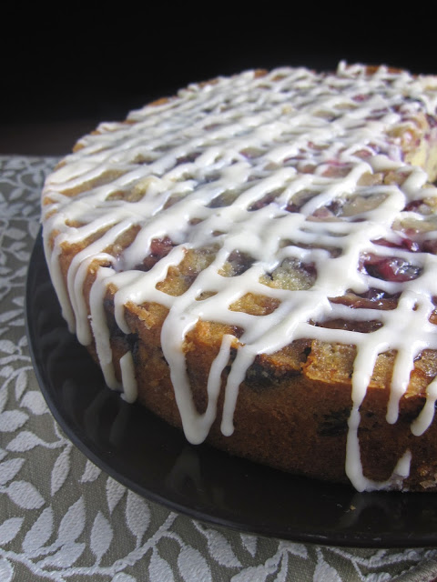 Fresh Cherry Coffee Cake with Cream Cheese Frosting