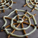 White Chocolate and Pretzel Spider Webs