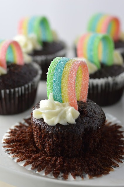 Whole Wheat Chocolate Rainbow Cupcakes