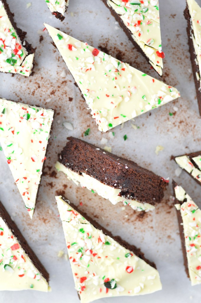 These Peppermint Bark Brownies are the perfect dessert recipe for Christmas. Soft and chewy brownies with a hard white chocolate shell topped with crushed candy canes.