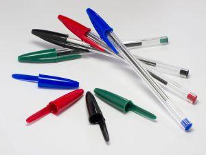 """""""4 Bic Cristal pens and caps"""" by Carlos Delgado."""