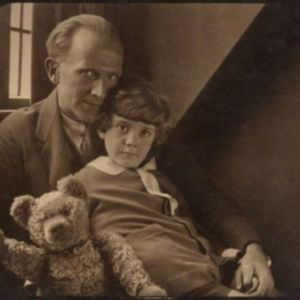 AA Milne with his son, Christopher, and Pooh Bear in 1926. (Photo: Howard Coster/Wikipedia.com)