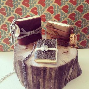 Miniature book necklaces by Rachael Gootnick.