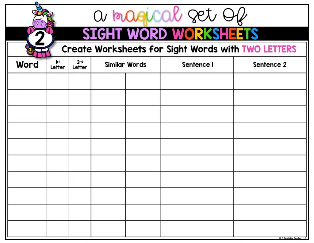 Kidzone Worksheet Sight Words Second Grade